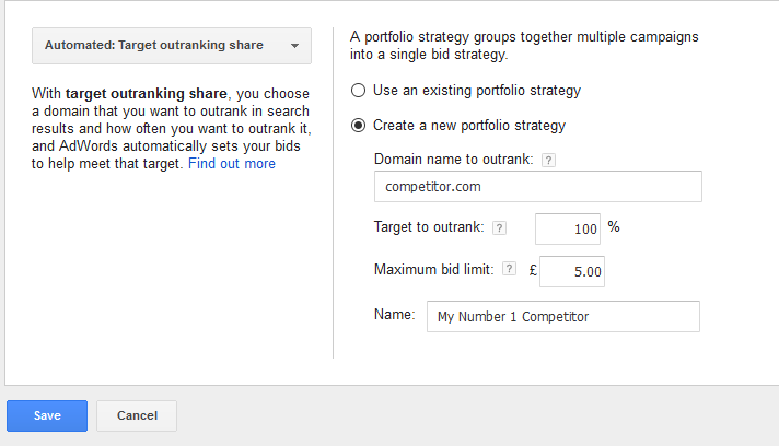 Target Outranking Share Bidding