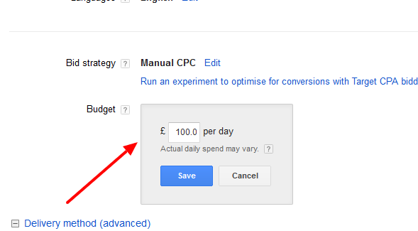 AdWords Budget Setting