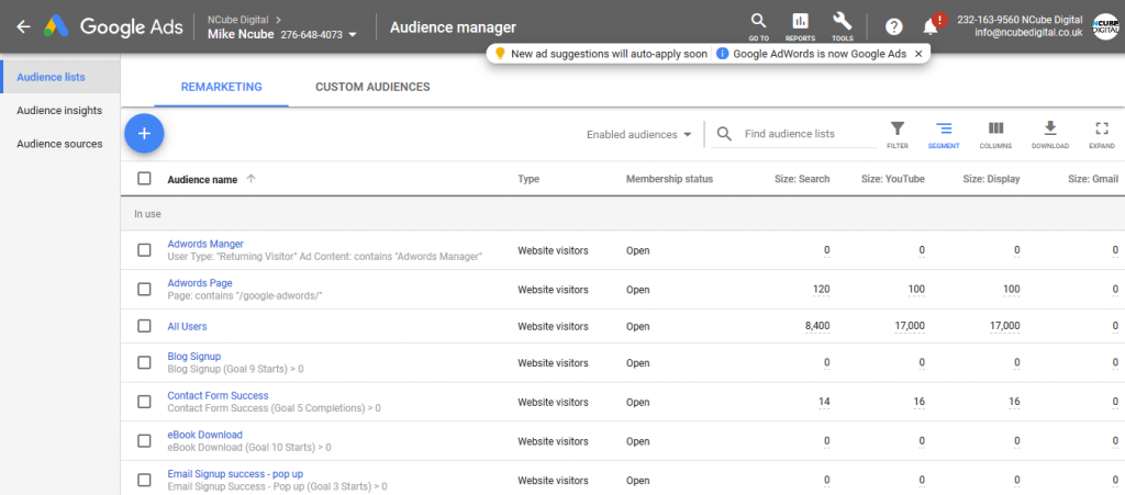 Remarketing Audience Lists
