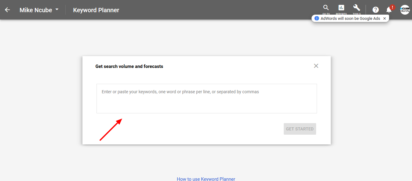 Keyword Planner Forecasting Tool