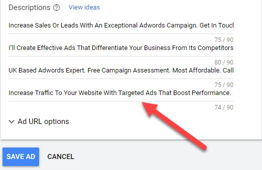 Responsive Search Ads Descriptions