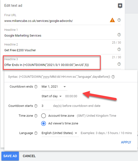 Google Ads Countdown Timing